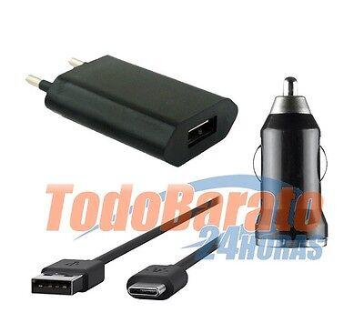 CARGADOR 3EN1 COCHE CASA + CABLE DATOS BQ AQUARIS X Micro USB...