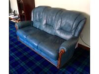 Sofa, two matching armchairs and stool.