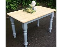 SOLID PINE FARMHOUSE TABLE IN FARROW & BALL CAN DELIVER