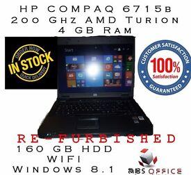 "HP Compaq 6715b 2.0Ghz 4Gb Ram 160Gb HDD 15.4"" scr WIFI Win 8.1 Refurbished CHEAP"