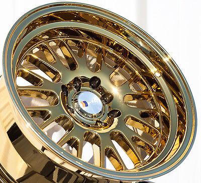 "GOLD CHROME F1R F04 15X8 +0 4X100  RIM FIT BMW E30 XA XB MIATA CIVIC MR2 3"" LIP"