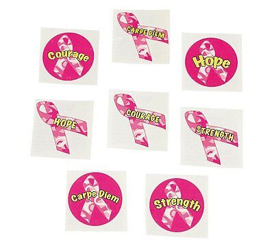 (72) Temporary Tattoo - Pink Breast Cancer Awareness Ribbon Camo (6 dozen)