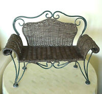 Doll Size Victorian Wrought Iron and Wicker Settee