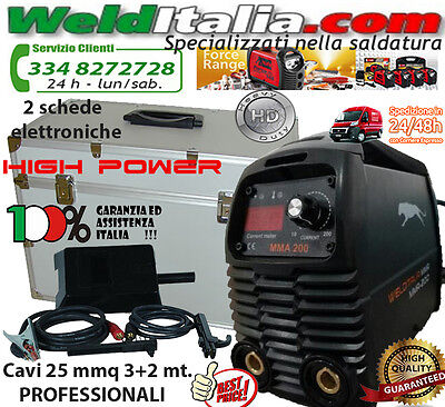 SALDATRICE INVERTER 160A WELDITALIA VALIG. CAVI 3+2 MT. ELETTRODO PROFESSIONALE