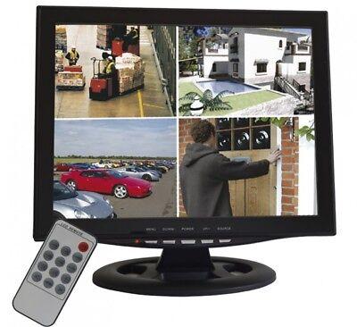 "15"" 38cm Quadbild Split CCTV LED Monitor Video Überwachungsmonitor für 4 Kameras"