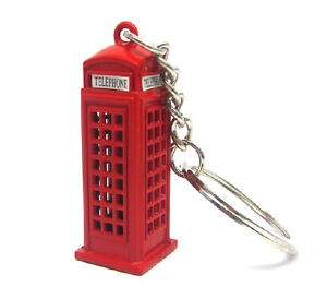 London Telephone Box Keychain British Red Telephone Booth Key Ring Cute Souvenir