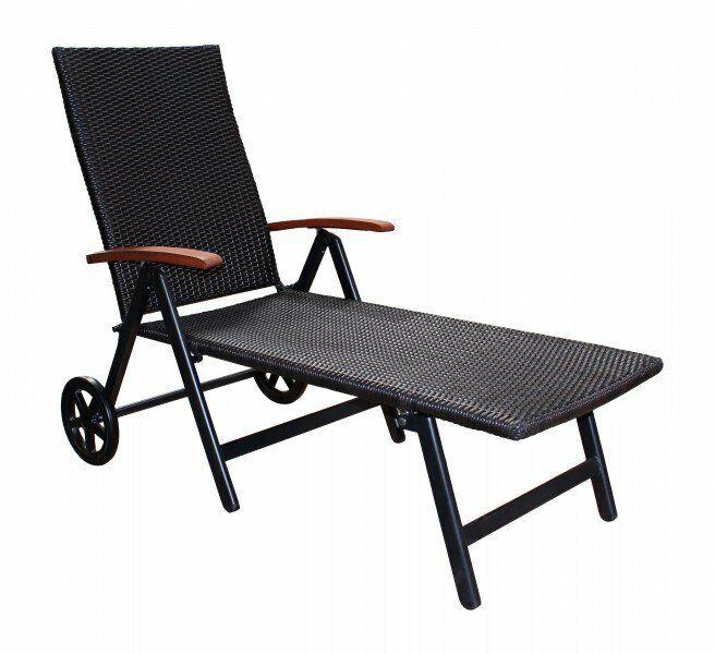 B - Ware Sonnenliege Gartenliege Polyrattan Alu Relax Rolliege Klappbar Braun DE