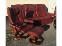 Ekornes complete suite sofa chairs footstools tables