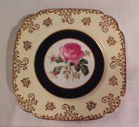 Square china plate with pink roses and gold scroll work