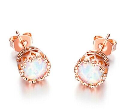 18k Rose Gold Opal Stud Earrings