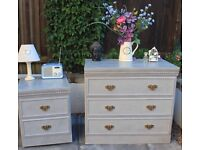 Bedside table and chest of drawers up cycled shabby chic