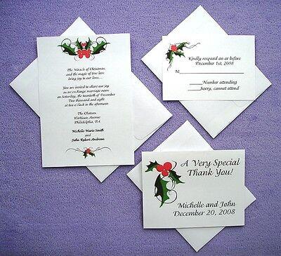 100 Personalized Custom Winter Holiday Christmas Bridal Wedding Invitations Set