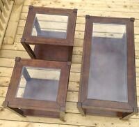 Wood and glass coffee table and matching end tables