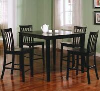 BRAND NEW, Black Square Counter Height Dining Set