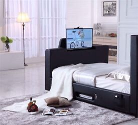 "LEATHER TV BED SMART HOLDS UP TO 40"" TV"