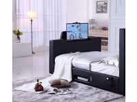 """LEATHER TV BED SMART HOLDS UP TO 40"""" TV"""