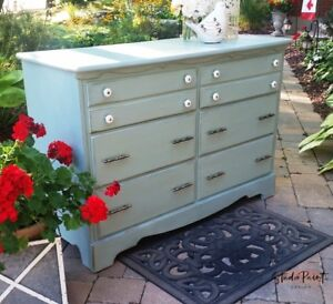 Painted Maple Farmhouse Country Chic Blue Change Table/ Dresser