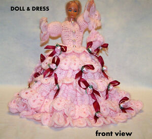 "Vintage Crochet Dolls Dress, hand made, with 12"" doll"