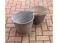 Vintage Galvanised Bucket with Handle x 2 , salvage