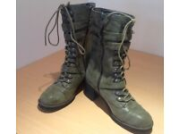 Olive green fashion boots