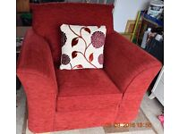 Red Chenille Armchair for sale