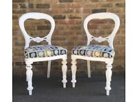 Beautifully upholstered, shabby chic, balloon back chairs (x2) - £80