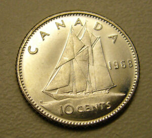 1968 Silver Canadian 10 Cent Coin Silver UNC