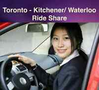 May 30th(Sat) Toronto to Kitchener/ Waterloo ShareRide $19.9