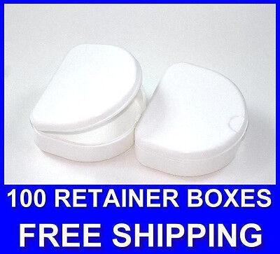 100 White Denture Retainer Box Orthodontic Dental Case Mouth Ortho Brace Teeth.