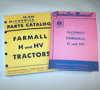 Set Farmall H Hv Tractor Operators And Parts Manual Catalog Owners Priority Ship
