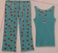 Aqua Print Pajama Lounge Set Tank Top Capri Pant L (10-12) New