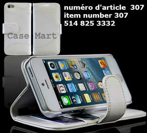 Leather Cover Stand practical White Apple iPhone5
