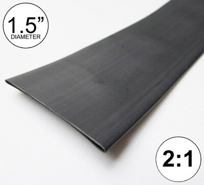 1.5 Id Black Heat Shrink Tube 21 Ratio 1-12 Wrap 2 Feet Inchftto 40mm
