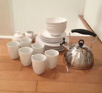 Ikea white Dinnerware set, with sugar bowl, creamer and kettle