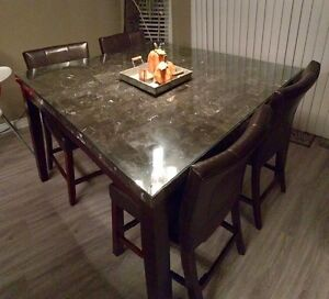 Modern 7 Piece Dining set - Real Marble top  Strathcona County Edmonton Area image 7