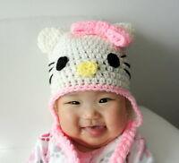 HELLO KITTY BABY HAT - NEW CUSTOM PHOTO PROP HAND MADE CROCHET