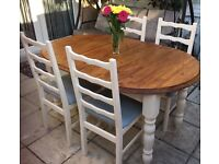 Shabby chic solid chunky pine extendable table and 4 chair refurbished