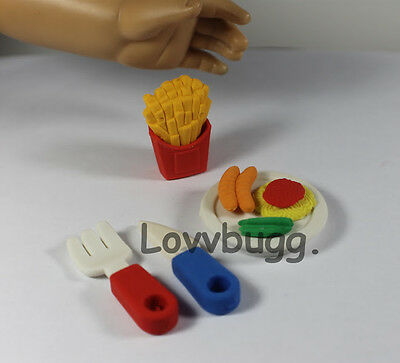 "Lovvbugg  Mini Meal Hot Dogs for 18"" American Girl Doll Food Accessory"