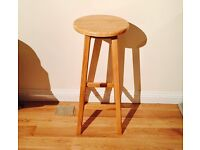 Oak Wooden Breakfast Bar High Stool