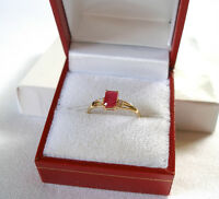 .80 Ct. Ruby Solitaire & Diamond  10k Gold Ring