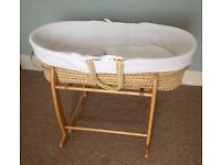 Claire de lune white waffle moses basket and pine stand