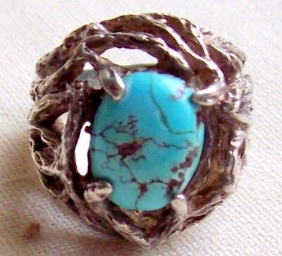 Estate Vintage Sterling Silver   Real Turquoise Serpents Heads Modernist Ring