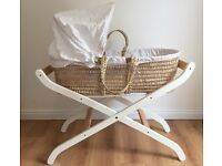 Moses basket Mamas and Papas complete with stand and new mattress