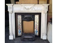 Cast iron fireplace & marble effect surround