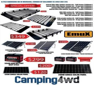 From $120 Solar panels, AGM Battery, Roof rack generator box