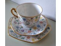 Vintage 1950s Hand Painted Bone China Tea Cup Trio by Thomas of Bavaria