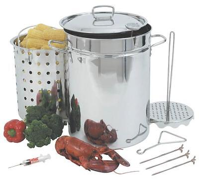 NEW BAYOU CLASSIC 1118 32 QUART STAINLESS TURKEY FRYER DELUXE KIT BASKET 5701131