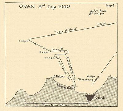 Oran 3 July 1940 French fleet Mers-el-Kébir. Operation Catapult. Sketch map 1954