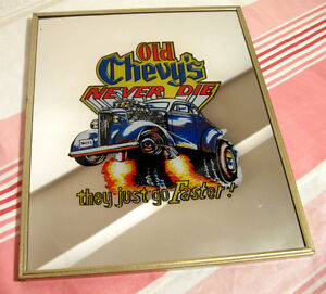 """Cadre miroir """"Old Chevy's never die"""""""