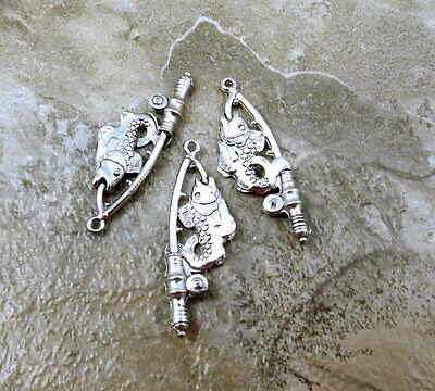 Three (3) Pewter Charms - Fishing Rod with Fish - 0206
